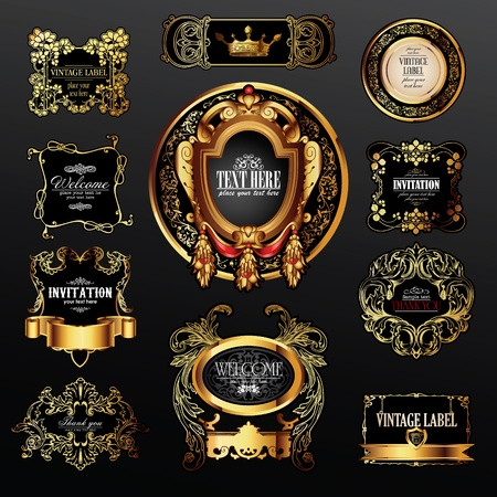 aristocratic: vector set of labels with gold elements for design