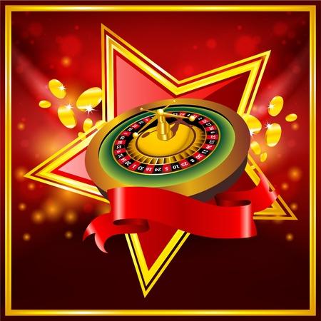 ruleta de casino: vector de rueda de la ruleta sobre fondo rojo con la cinta Vectores