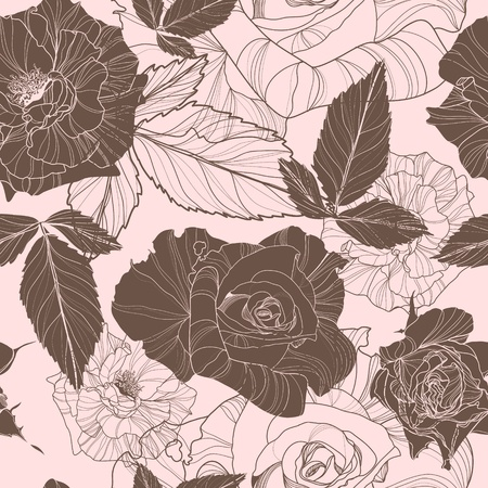 gray pattern: beautiful vector seamless pattern with roses