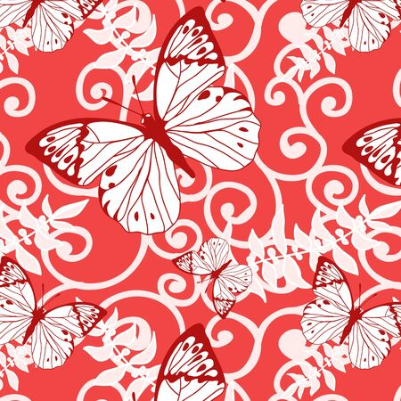 pink vector seamless background with swirls and butterflies Vector
