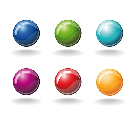 set of six color balls isolated over white Vector