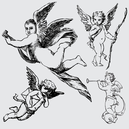 set of various angels or cupids. isolated Vector