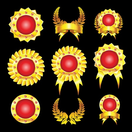 golden and red badges Vector