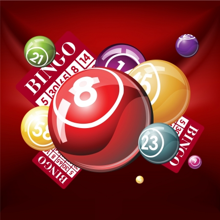 Bingo or lottry balls and cards on green background Vector