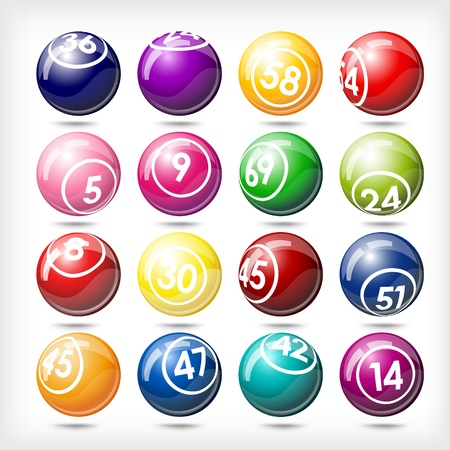 loteria: ilustración del arte de sistema del bingo o las bolas de la lotería aislado más de blanco