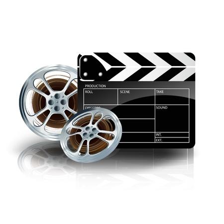 cinematograph: cinta de v�deo la pel�cula con el cine y la tira de pel�cula badajo sobre fondo azul