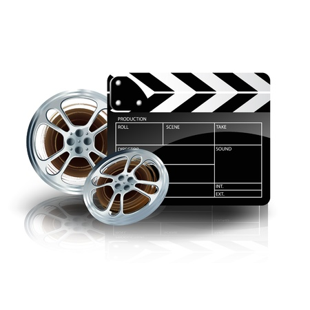 film set: video film tape with cinema clapper and filmstrip on blue background Illustration