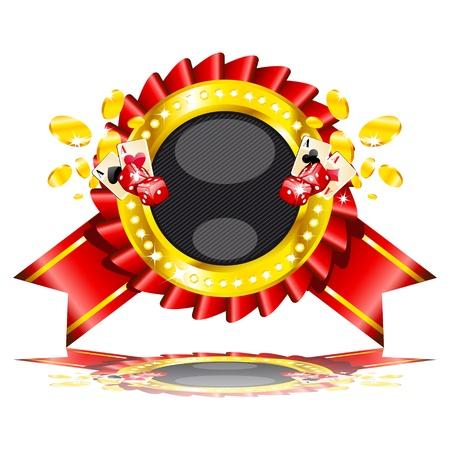 jackpot: Vector illustration de cartes de casino, des d�s et des pi�ces d'or. Illustration