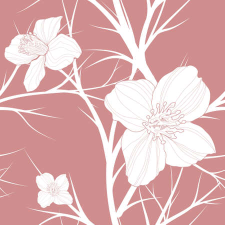beautiful vector floral  hand drawn seamless pattern with swirls and flowers. Vector