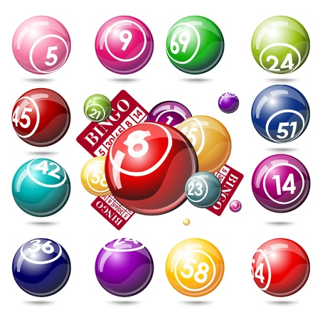 lottery win: Bingo or lottery balls and cards. Isolated on white background Illustration