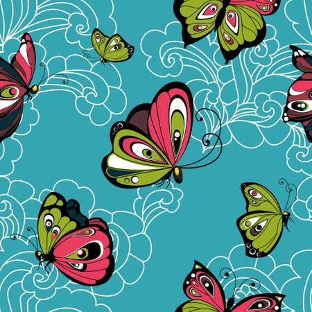 love cloud: Flying butterflies on blue sky with white clouds seamless pattern Illustration