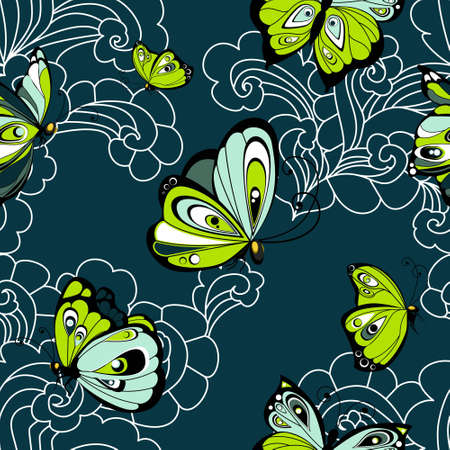 Flying butterflies seamless pattern. Vector