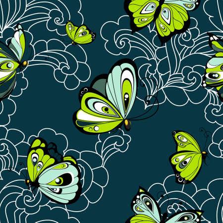 Flying butterflies seamless pattern. Vector