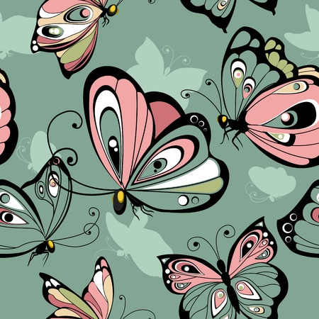 butterfly abstract: Flying butterflies  seamless pattern Illustration