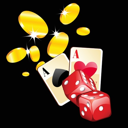 red dice: illustration of casino cards, dice and gold coins  Illustration