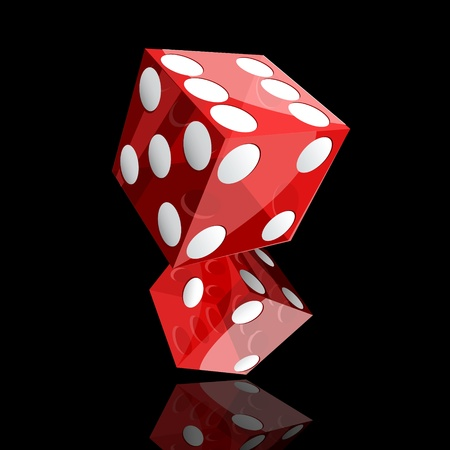 2 objects: two red dice cubes on black background  Illustration