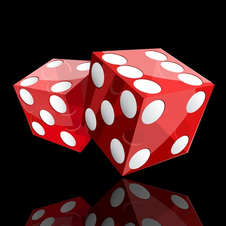 six objects: two red dice cubes on black background  Illustration