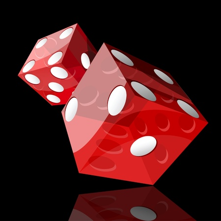 craps: two red dice cubes on black background