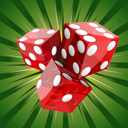 dice: Casino craps red dice on green background