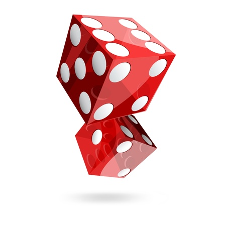 craps: two red dice cubes on white background