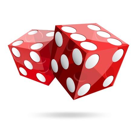 twee rode dobbelstenen kubussen op witte achtergrond
