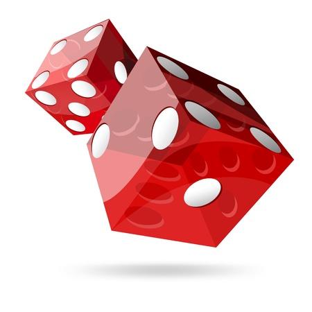 dados: dos cubos dados rojos sobre fondo blanco Vectores