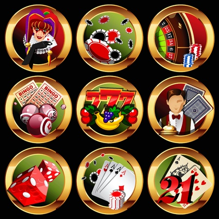 roulette wheel: eps8 vector casino or gambling icons set.