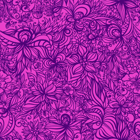 beautiful vector floral  hand drawn seamless pattern with swirls and flowers. Stock Vector - 12819971