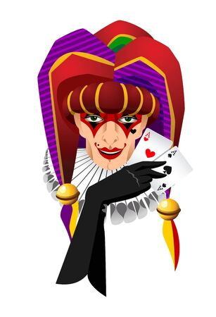 jester: Smiling joker head with aces cards in his hand isolated on white background