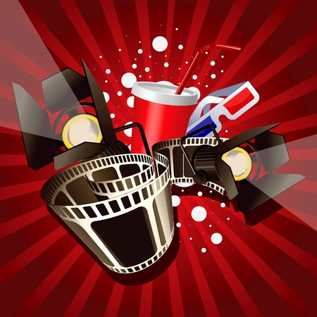 Illustration of  movie theme objects on red background. Vector
