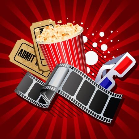 popcorn: Illustrazione di oggetti filmato a tema su sfondo rosso. Vettoriali