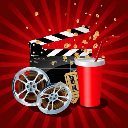 Illustration of movie theme objects on red background.