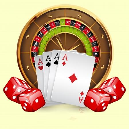 roulette: Illustrazione della ruota della roulette del casinò con carte e dadi. Isolato su sfondo bianco