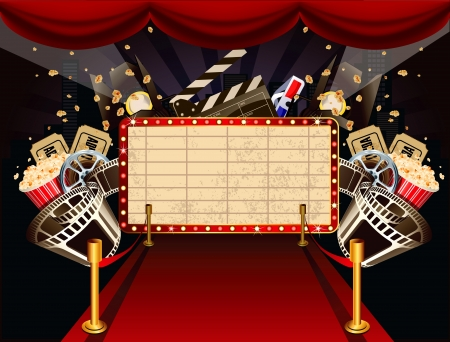 cinema ticket: Illustration of theatre marquee with movie theme objects
