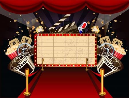 CINE: Ilustración de la marquesina de teatro con objetos temáticos de cine