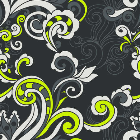 line drawings: Abstract floral vector seamless pattern. Illustration