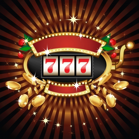 A slot fruit machine with cherry winning on 7s. Gold coins fly out at the viewer. Vector