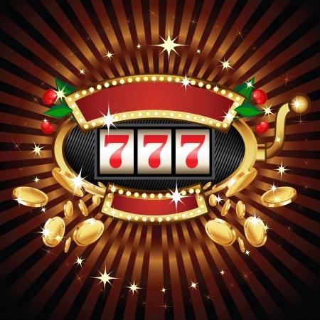 Ein Slot Spielautomaten mit Kirsche auf 7s gewinnen. Goldmünzen fliegen auf den Betrachter zielt. Vektorgrafik