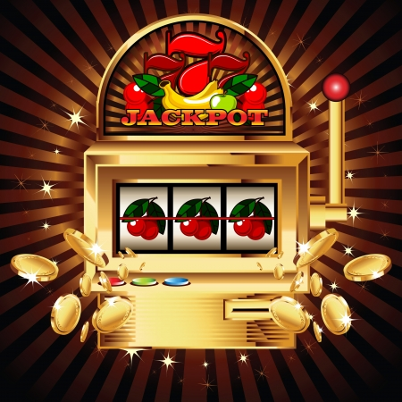 machine: A slot fruit machine with cherry winning on cherries. Gold coins fly out at the viewer.
