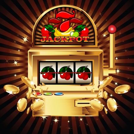 tragamonedas: Una máquina de ranura de fruta con la cereza de ganar en las cerezas. Las monedas de oro vuelan hacia el espectador.