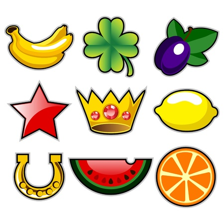 Various slot machine fruit icons Stock Vector - 12819840