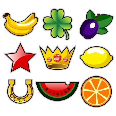 Vaus slot machine fruit icons Stock Vector - 12819840