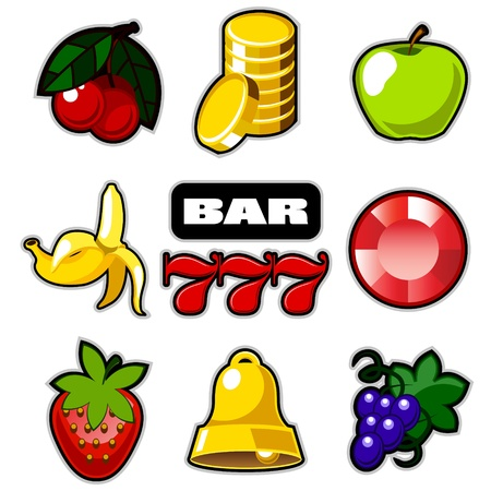 hand bells: Various slot fruit machine icons