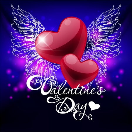 valentines day card with hearts and wings Vector