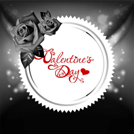 Vintage valentines day card with roses Vector