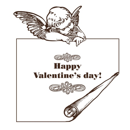 happy valentine's day card with cupid isolated over white Illustration