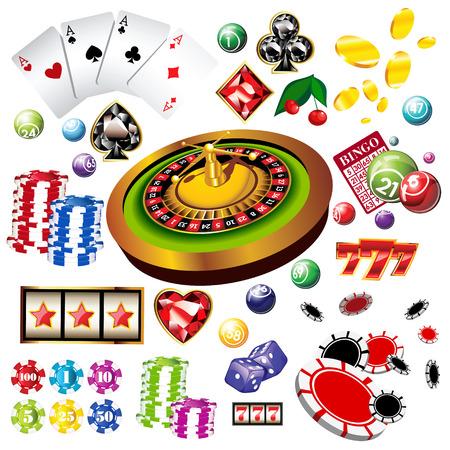 tragamonedas: El conjunto de elementos o iconos vectoriales de casino incluyendo ruleta, naipes, fichas, dados y más