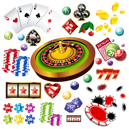 The set of vector casino elements or icons including roulette wheel, playing cards, chips, dice  and more Illustration