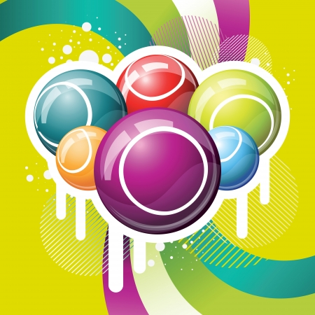 Bingo or lottery balls on green funkey background Illustration