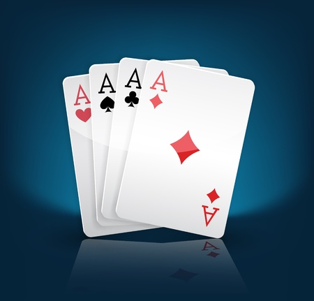 four aces playing cards suits on blue